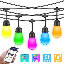 Outdoor Color Changing LED String Lights w/APP, Sync to Musi