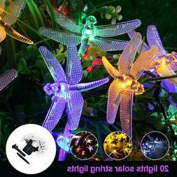 Outdoor LED Solar Dragonfly String Lights Fairy Garden Yard