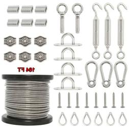 String Lights Suspension Kit 164FT Stainless Steel Cable wit
