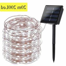 Outdoor Solar Fairy String Lights 200 LED Copper Wire Waterp