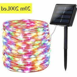Outdoor Solar Fairy String Lights 200LED Copper Wire Waterpr