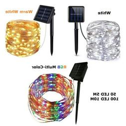 Outdoor Solar Powered 15Ft 33Ft 50 100 LED 5M10M Copper Wire