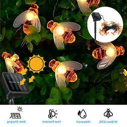 Outdoor Solar Powered Bee String Lights 30 LED Yard Garden D