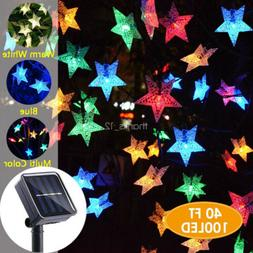 Outdoor Solar Powered Star Fairy String Lights LED Garden Ya