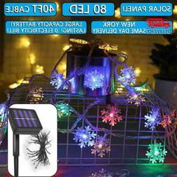 Solar String Lights 40ft 80 LED Copper Fairy Light Garden De