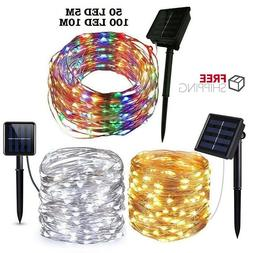 Outdoor Solar String Lights Waterproof 5M10M 50 100 LED Copp