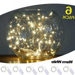 Pack of 6 LED Moon Lights 20 Micro Starry LEDs on Copper Ext