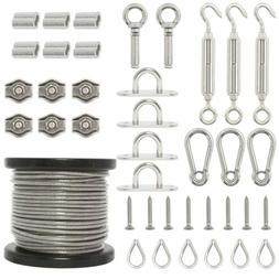 String Lights Hanging Kit,164FT Vinyl Coated Wire Rope Steel