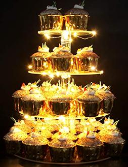 Vdomus Pastry Stand 4 Tier Acrylic Cupcake Display Stand wit