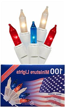 Patriotic 100 Mini Lights Red White and Blue Indoor Outdoor