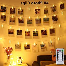 Led Photo Clip Remote String Lights, Magnoloran 40 LEDs Batt
