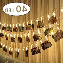 cuzile LED Photo Clip String Lights Battery Powered Picture