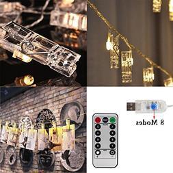 Photo String Lights , AnSaw 40 LED Hanging Display Starry Li