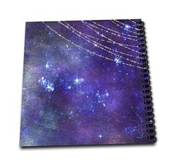 3dRose Pretty Blue Watercolor Galaxy Night with Printed Stri