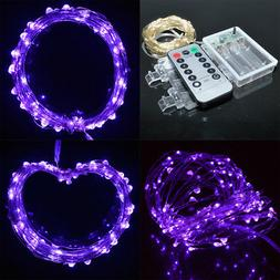 Purple 10M 100LED Battery Operated Portable Christmas Xmas S