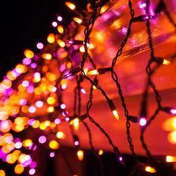Purple Orange Halloween Net Icicle Party Lights Black Wire H