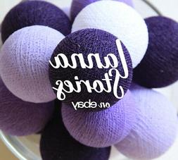 PURPLE TONE COTTON BALL STRING LIGHTS for BEDROOM FAIRY PATI