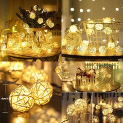 Rattan Ball String Lights 9 Ft 20 Fairy Light Plug In Christ