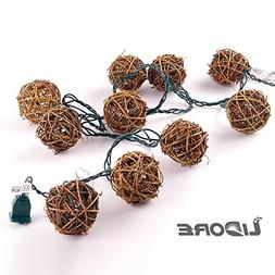 LIDORE 10 counts Natural Rattan Balls String Light. Warm Whi