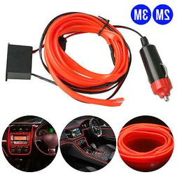 Red 2/3M EL LED Wire String Lights Car Auto Interior Decor A