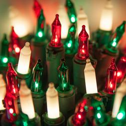 Red Green White Christmas Mini Lights Indoor-Outdoor, Set of