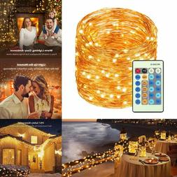 Remote Control 33FT Led Waterproof LED Copper Wire String Li