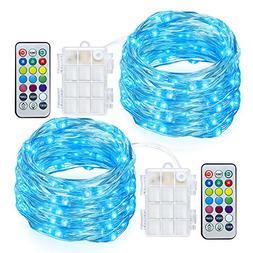 GDEALER 2 Pack RGB Multi Color Change String Lights Fairy Li