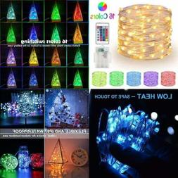 RGB Fairy Lights 33Ft 100 LED String Battery Operated Multi