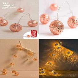 ROSE GOLD Moroccan Lamp 10 LED Boho Decor Glod String Lights