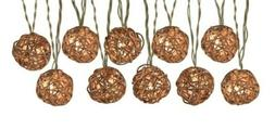 Rustic Brown Wicker String Patio Deck Lights 10-Light 8.5-ft