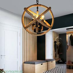 Rustic Rope Orb 3 Lights Industrial Sphere Ceiling Chandelie
