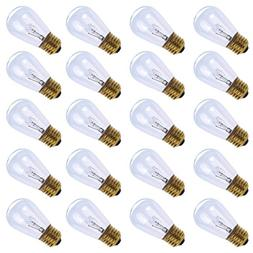 20 Pack of S14 Clear Bulbs 11 Watt Warm Replacement Incandes