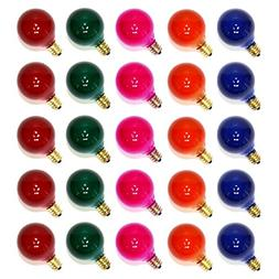 25PC G40 Bulbs Frosted Multi-Color Globe Bulbs Candelabra Sc