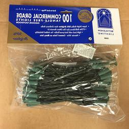 Set of 100 Clear Commercial Grade Christmas Lights Green Wir
