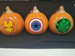 "Set of 3 Marvel Avengers 6"" Light Up Pumpkins HULK FLASH CAP"