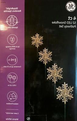 Set of 4 GE StayBright LED Random Sparkle Snowflake Pathway