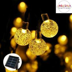 Solar 30 LED String Lights Crystall Ball Bulbs Outdoor Indoo