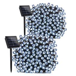 Lumitify 2 Pack Outdoor Solar String Lights, 72ft 200 LED Fa