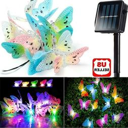 Solar Fairy String Lights 12 LEDs Butterfly Lights Waterproo