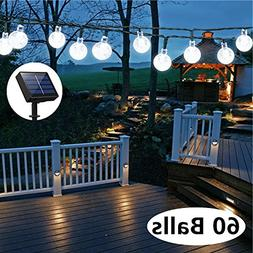 Solar Globe String Lights, 33 Feet 60 Crystal Balls Waterpro