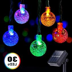 Solar Globe String Lights, DecorNova 20 Feet 30 LED Crystal