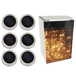 6-Pack Solar-powered Mason Jar Lights ,10 Bulbs Warm White J