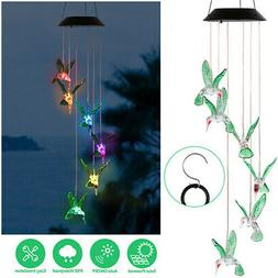 Solar LED Color-changing Hanging Lights Hummingbird Wind Chi