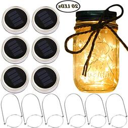 Solar Mason Jar Lantern Lights,6 Pack 20 Led Fairy Solar Fir