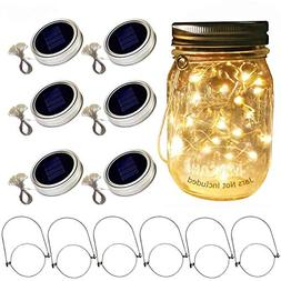 Aobik Solar Mason Jar Lid Lights, 6 Pack 20 Led String Fairy