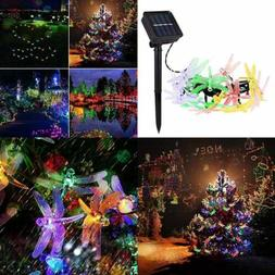 Solar Panel W LED String Lights 16 Ft 20 Simulation Dragonfl