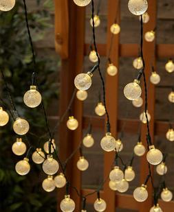 Solar Power 50 Count LED White Bulb Garden Yard String Light