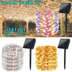 Solar Power LED String Lights 100 Copper Wire 39ft Waterproo