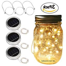Betus Solar Powered 20 LEDs Mason Jar Lid String Lights with