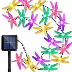 Outdoor Solar Powered 30 LED Dragonfly String Lights Garden